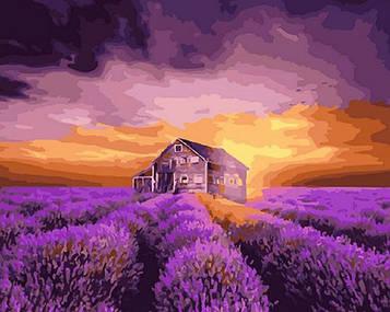 Картина по номерам 40х50 см DIY Дом в лавандовом поле (NX 5757)