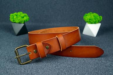 Шкіряний пояс під джинси колір коньяк з пряжкою №1