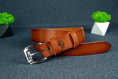 Шкіряний пояс під джинси колір коньяк з пряжкою №4