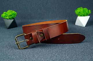 Шкіряний пояс під джинси колір коньяк з пряжкою №1, фото 2