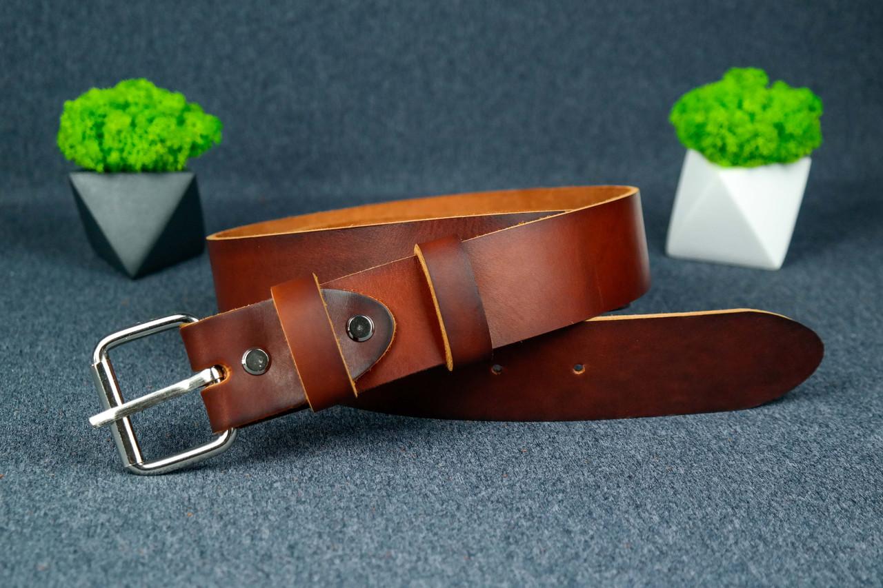 Шкіряний пояс під джинси колір коньяк з пряжкою №2