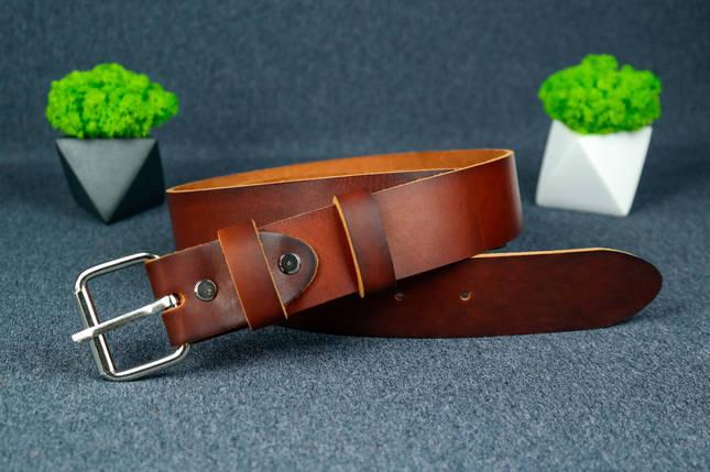Шкіряний пояс під джинси колір коньяк з пряжкою №2, фото 2