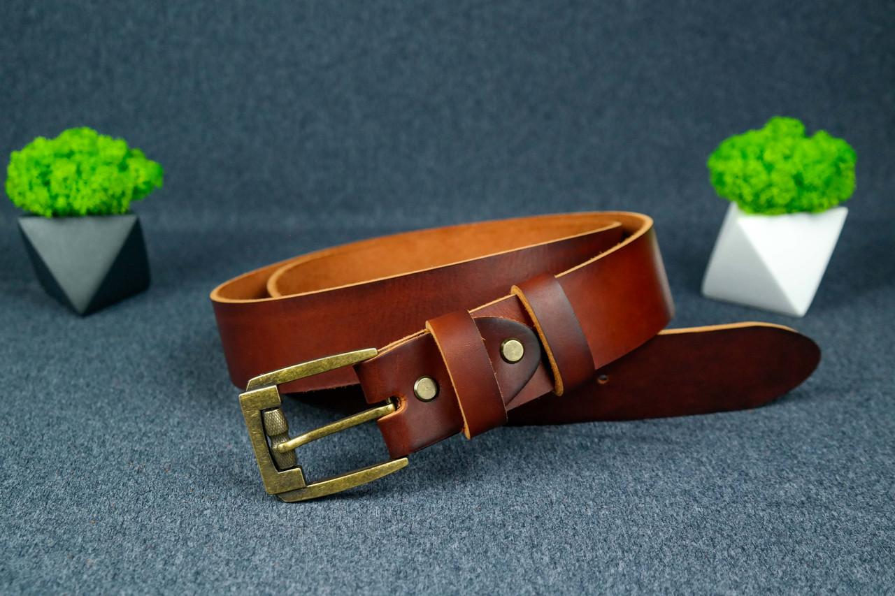Кожаный пояс под джинсы цвет Вишня с пряжкой №3