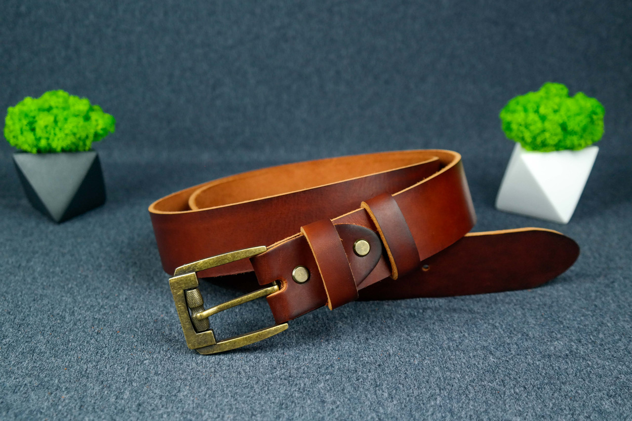 Шкіряний пояс під джинси колір коньяк з пряжкою №3