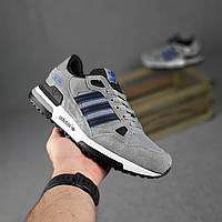 Мужские замшевые кроссовки в стиле Adidas ZX 750 серые, фото 1