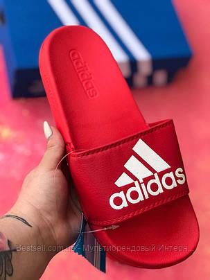 Шлепанцы мужские красные Adidas / Сланцы / шлепки / адидас, фото 2