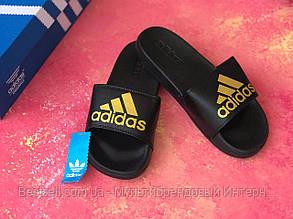 Мужские шлепанцы Adidas черные / Сланцы / шлепки адидас, фото 2