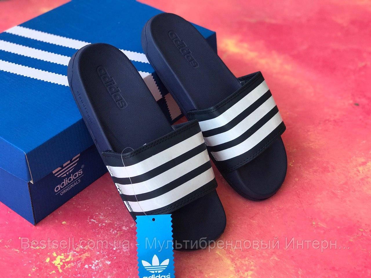 Шлепанцы мужские синие Adidas / Сланцы / шлепки / адидас / темно-синие