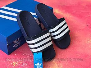 Шлепанцы мужские синие Adidas / Сланцы / шлепки / адидас / темно-синие, фото 2