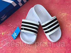 Шльопанці чоловічі білі Adidas / Сланці / шльопанці Adidas / шльопанці / адідас / білі, фото 2