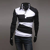 Поло с длинным рукавом XL, Черно-белый