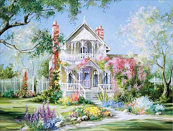 Картина по номерам 40х50 см DIY Дом в цветах (NX 9549 )