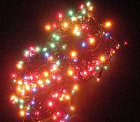 Привычная гирлянда с лампочками накаливания разных цветов, 200 огоньков