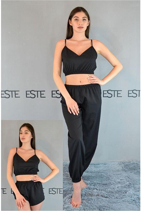 Пижама женская черная Este три предмета Топ+шорты+штаны 218.
