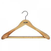 Вешалка для тяжелой одежды VILAND буковая с резиновой лентой на перекладине 43 х 6.5 см