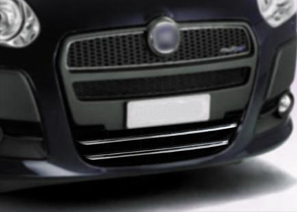 Накладка на нижнюю решетку (2 шт, нерж.) Fiat Doblo III nuovo 2010↗ и 2015↗ гг. / Защитные (хром) накладки на