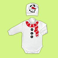 Бодик снеговик новогодний боди и шапочка снеговик
