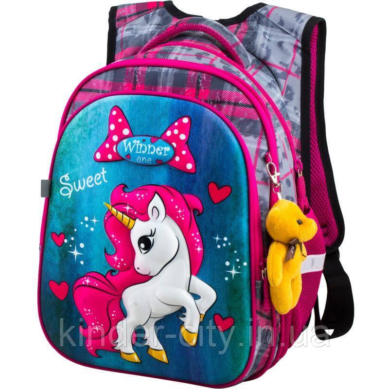 Шкільний рюкзак для дівчинки Winner R1-003 + брелок ведмедик