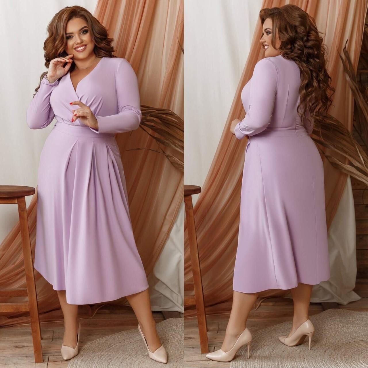 """Элегантное женское платье на запах с V-образным вырезом ткань """"Костюмная"""" 58, 60 размер 58"""