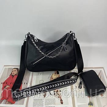 Женская кожаная сумка через плечо с текстильным ремешком Polina & Eiterou