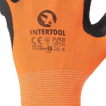 """Перчатка оранжевая вязанная синтетическая, покрытая черным рифленым латексом на ладони 9"""" INTERTOOL SP-0120, фото 2"""