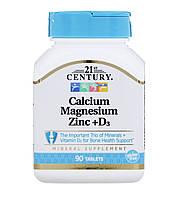 21st CENTURY Кальцій, магній, цинк + D3 , 90 таблеток