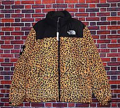 Мужской зимний пуховик с капюшоном The North Face Supreme леопардовая
