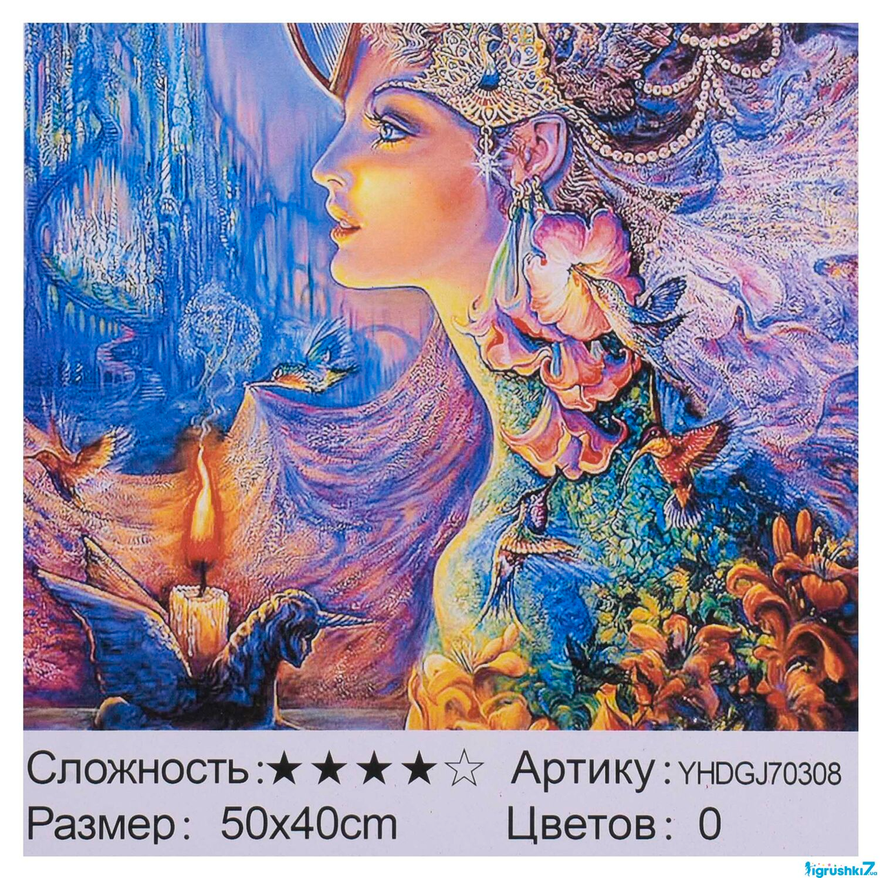 Картина по номерам + Алмазная мозаика 2в1 YHDGJ 70308 50х40см. Раскраска фэнтези