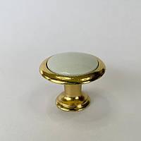 Меблева ручка кнопка золото+біла