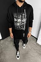 Кофта мужская весенняя осенняя оверсайз Cross черная Кенгурушка мужская   Толстовка с капюшоном ЛЮКС качества, фото 1