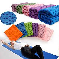 Коврик-полотенце для йоги 1,83*0,63 микрофибра+силикон цвет синий