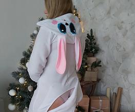 Пижама Зайка белая с карманом на попе Попожама