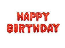 Фольгированная надпись Happy Birthday  Красная - 40 см