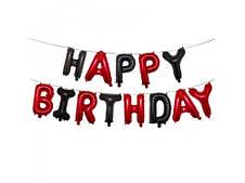 Фольгированная надпись Happy Birthday  Красно-черная  40 см