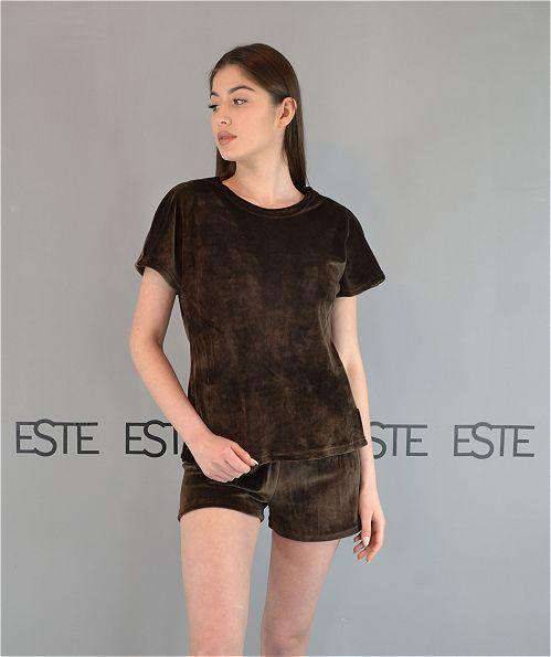 Пижама женская Este плюшевая. Комплект футболка и шорты шоколад.