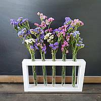 Эко ваза. Деревянная рамка с колбами (на 5 колб)