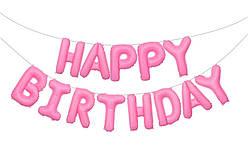 Фольгированная надпись Happy Birthday  розовая  40 см