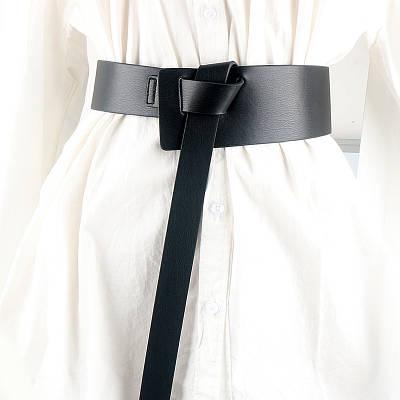 Ремень женский широкий ассиметричный на талию на платье на пальто эко-кожаный черный ремень петля