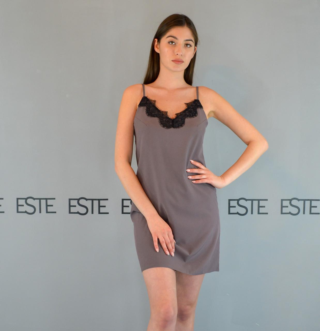 Ночная сорочка женская с кружевом Este 202-1 какао.