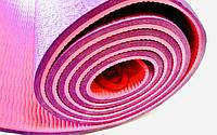 Коврик для йоги из каучука двухслойный  фиолетово/розовый 180 х 61 х 0,8 см, фото 1