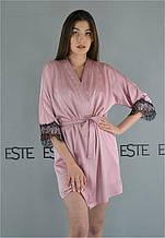 Халат женский  шелковый ТМ Este с кружевом 500-розовый. Домашняя одежда.