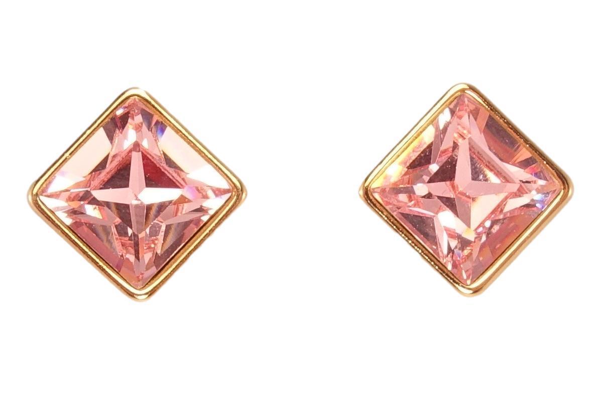 """Серьги ХР Позолота 18K с кристаллами Swarovski гвоздики """"Квадратный Кристалл в Глухой Оправе"""""""