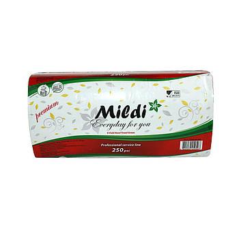 Полотенца бумажные в листах Mildi Premium V-fold однослойные 250 шт, зеленые