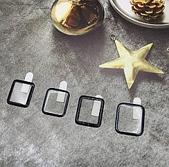 Защитное стекло 5D Full Glue на часы Apple Watch Series 3/ S3/ Nike+ Series 3 черная рамка, полный клей 38mm