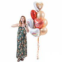 Связка из 5 сердец с надписями о любви и 7 шаров золото хром, фото 2