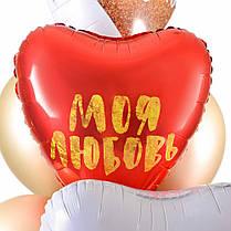 Связка из 5 сердец с надписями о любви и 7 шаров золото хром, фото 3