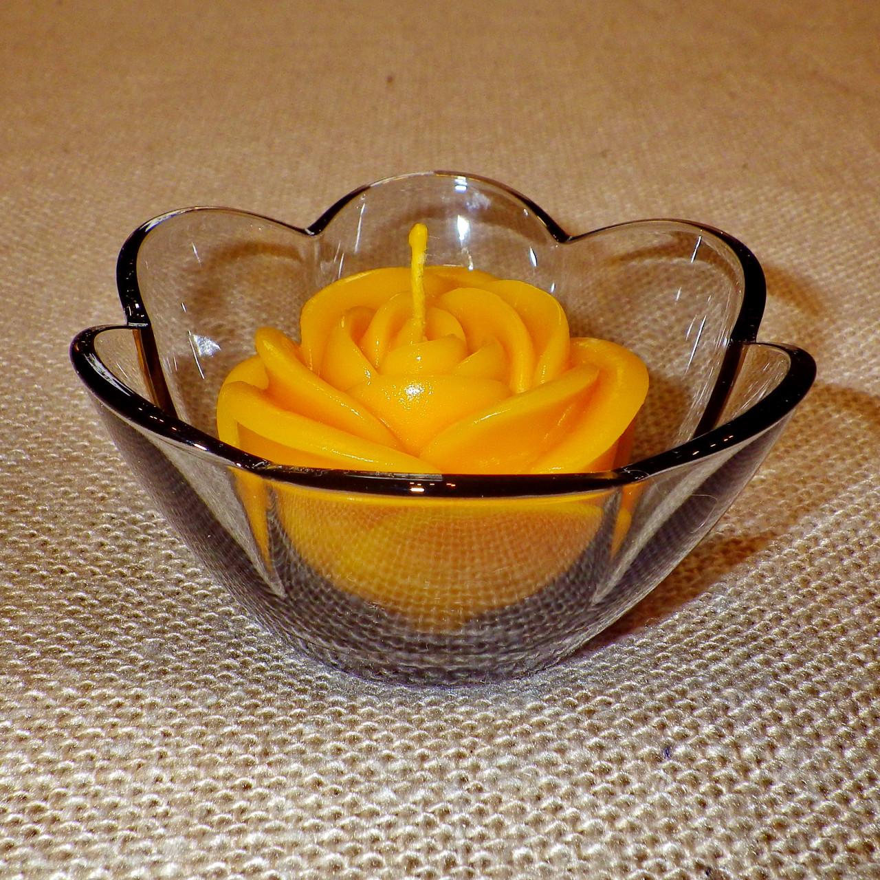 Стильный настольный стеклянный подсвечник Цветок для чайных свечей