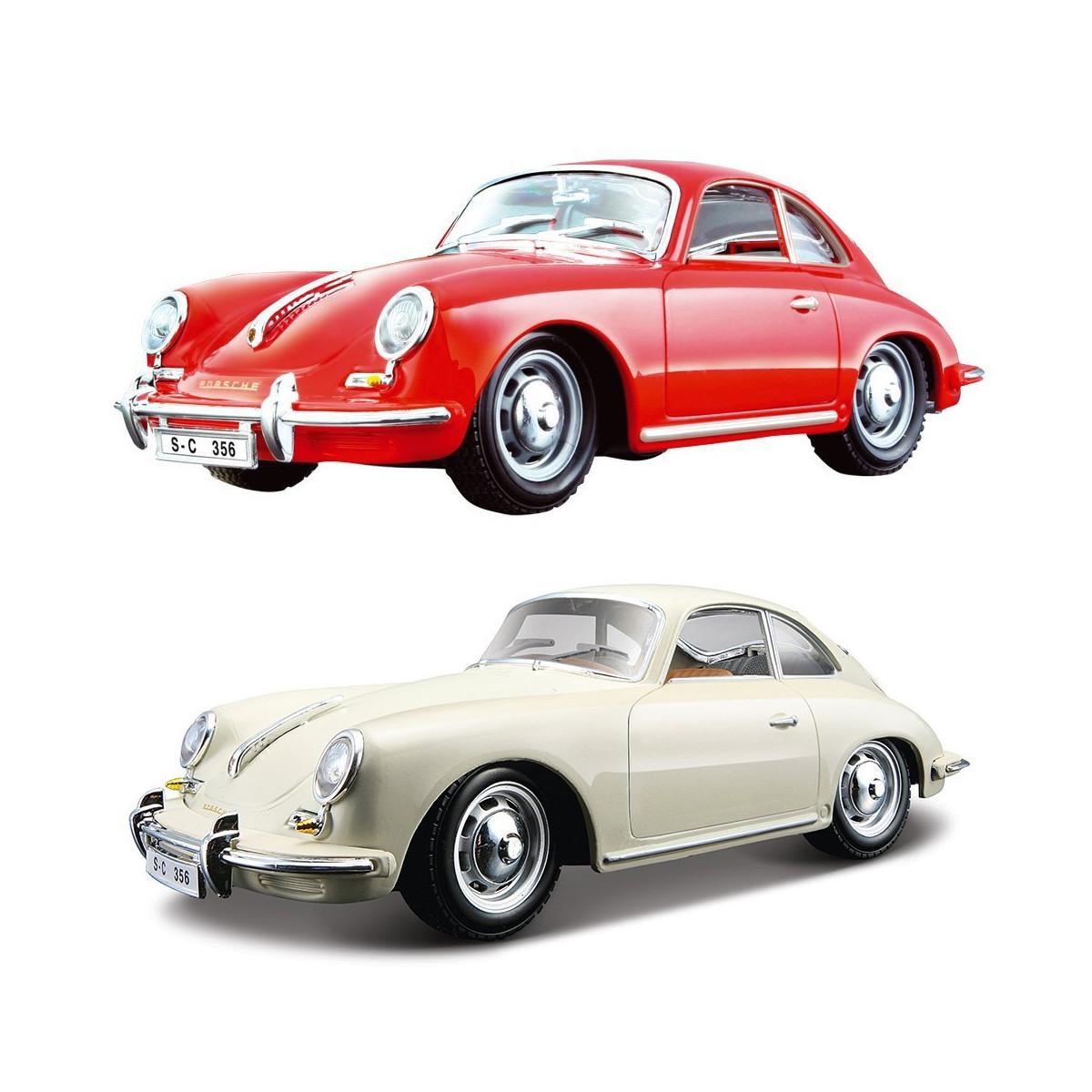 Автомодель - PORSCHE 356B (1961) (асорті слонова кістка, червоний, 1:24), 18-22079