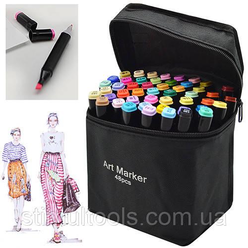 Набор двухсторонних маркеров черный корпус в чехле 48 цветов