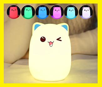 Силиконовый детский ночник «Котик» 7 LED цветов USB ночник-светильник